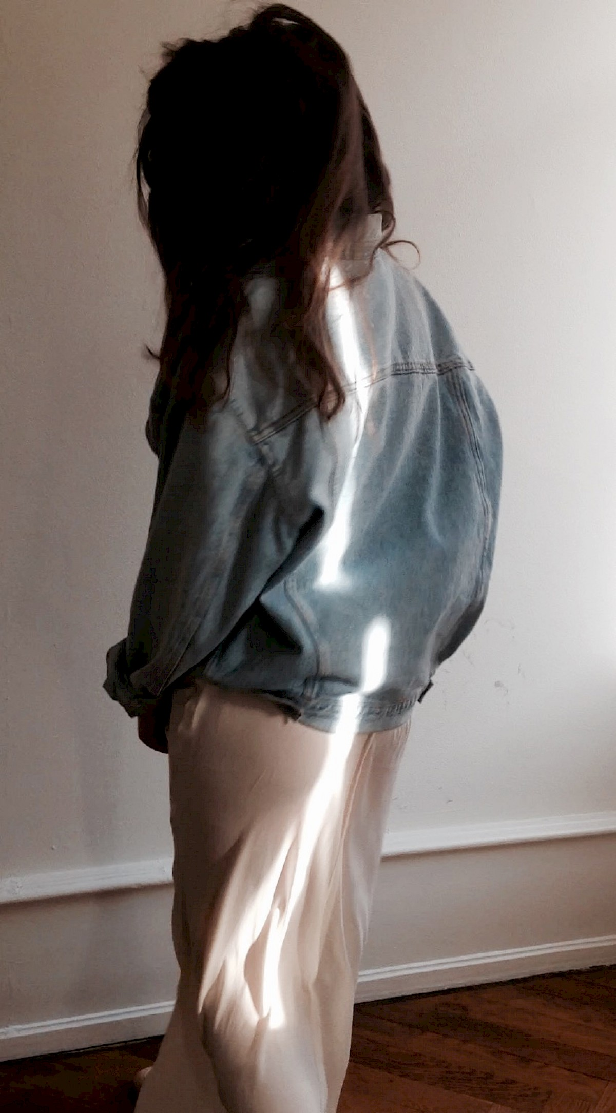 Sashi: T Alexander Wang silk maxi dress, vintage Hugo Boss denim Jeans jacket oversized