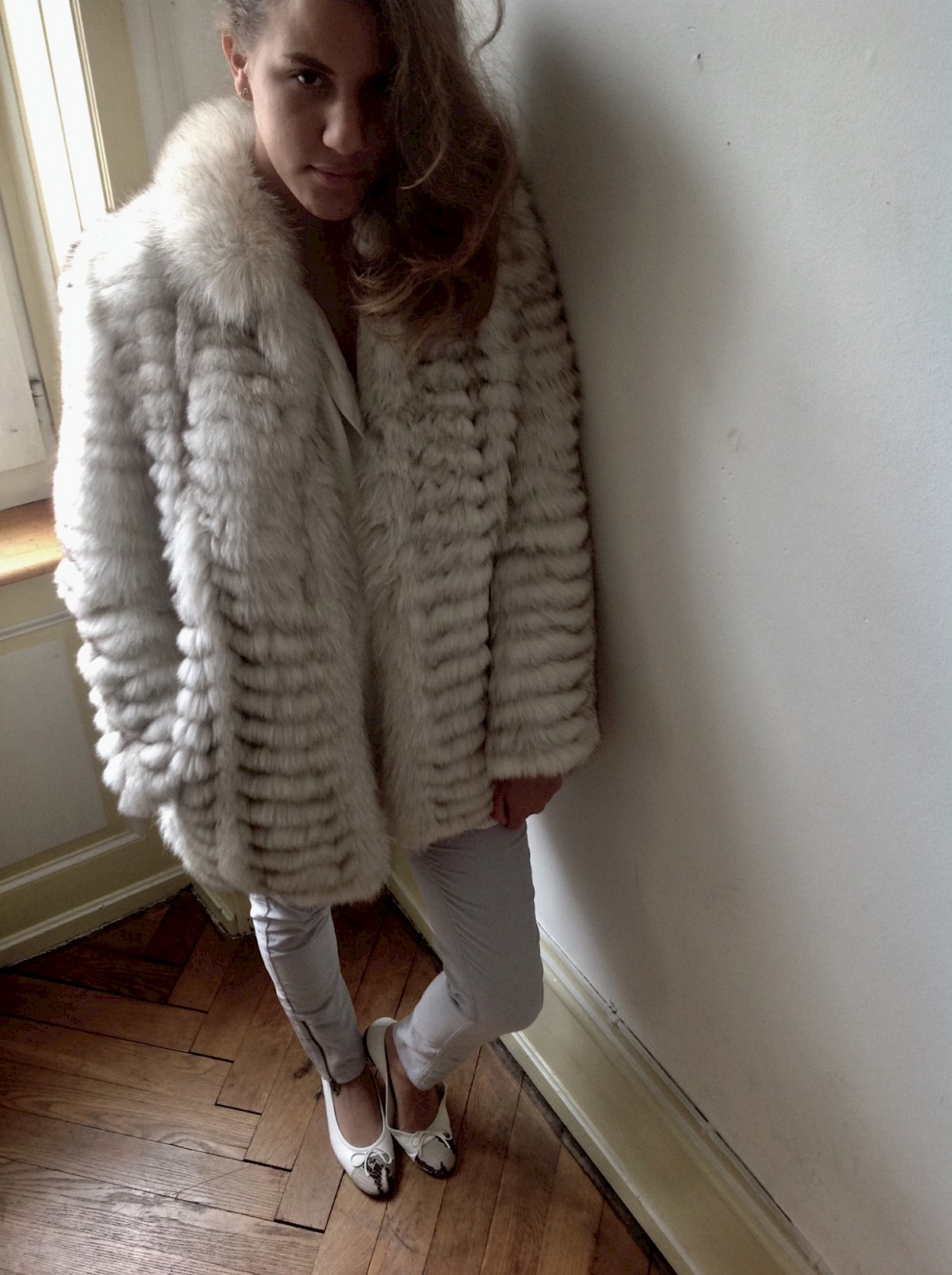 Silver fox fur coat shuba boheme Maje Cord velour pants