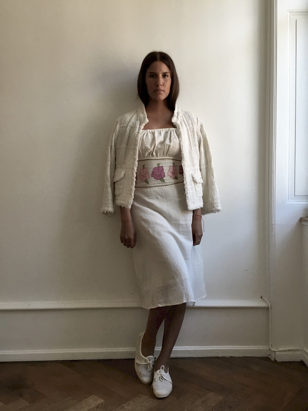traditional turkish summer dress boho bohemian folklore folk embroidery Tracht off white linen marant romantic dreamy
