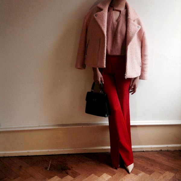 Boucle wool coat salmon motorcycle Red Amazone Made In France pants 90s supermodel Sonia Rykiel knit Old rosé nude