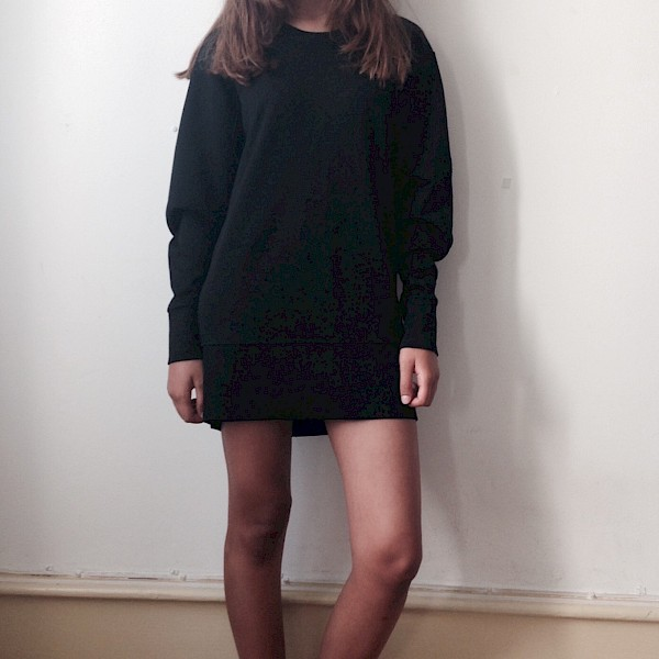 LBD Helmut Lang oversized sweater dress Adilettes black