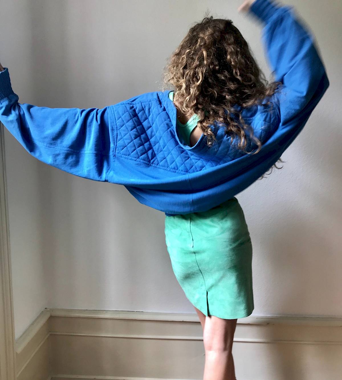 Deria baby girl Turquoise Vintage suede high waist balmain jacket silk bomber doc martens curly 80s 90s isabel marant