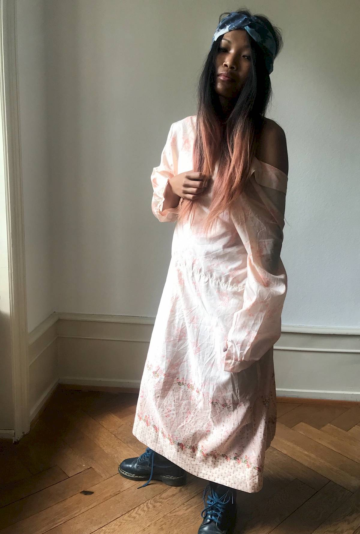 Miau Lanvin vintage night gown 70s 60s New York Saks Doc Martens Boho bohemian silk satin retro