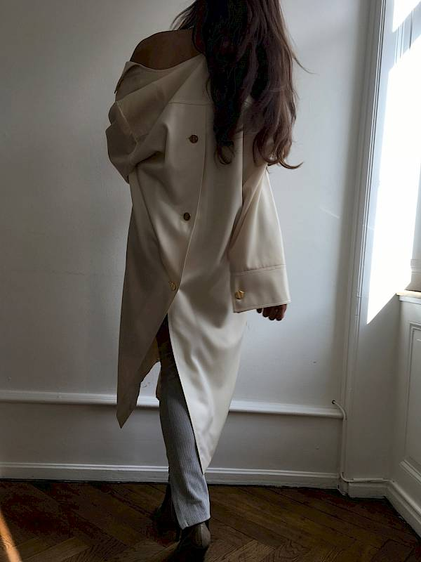 Eve wool coat dress Vintage haut couture france virgin off white